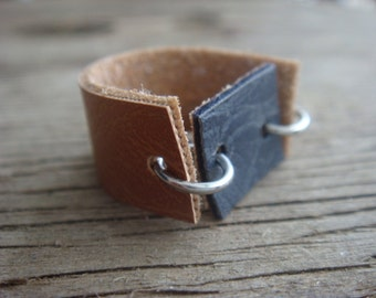 Faux Leather Ring - Boho Ring - Vegan Ring - Two Tone Leather Ring - Faux Leather Band - Brown Leather Ring - Minimalist Jewelry