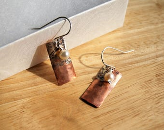 Silver and Copper Earrings, Fused Silver and Copper Metal Earrings