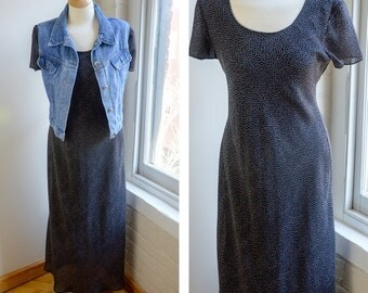 Vintage Long Maxi Dress, 90s Grunge Dress, Black and White Polka Dot Short Sleeve Dress, Pull Over Shirt Dress, Sheer Dress, Fully Lined