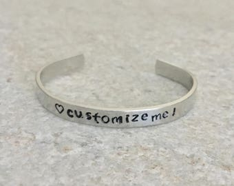 Custom Cuff Bracelet, Personalized Cuff Bracelet, Custom Bracelet, Personalized Bracelet, Stackable Bracelet, Cuff Bracelet, Gift for Her