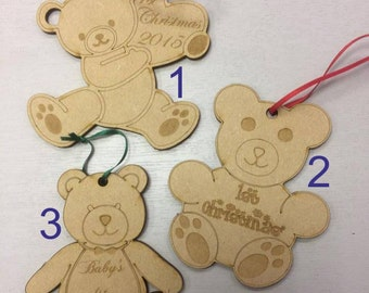 Christmas Teddy Bears - 3 Designs - MDF Shapes - 3mm Lasercut - (ribbon not included)