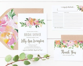 Printed of Printable Digital Bridal Shower Invitation Floral Lilly