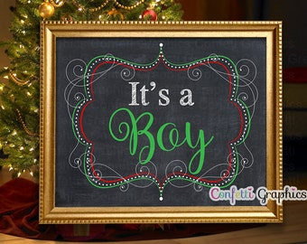 Christmas It's a Boy Chalkboard Baby Announcement Expecting December Baby Reveal Pregnancy Sign Photo Prop - 16x20 / 8x10 Instant Download