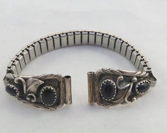 Reserved for P- Signed Richard Begay Navajo Sterling Onyx Watch Band Native American