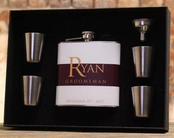 Flasks for Men, Burgundy Wedding, Personalized Gifts, Groomsmen Gifts, Best Man Gift, Set of 6