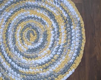 "38"" Yellow and Gray Rug, Hand Crocheted, Cicular Rag Rug, Kitchen Rug, Bedroom Rug, Crochet Rug, Braided Rug, White and Gray Rug, Throw Rug"
