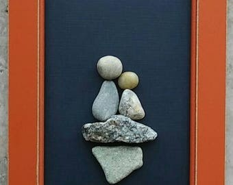 """Pebble Art, Rock Art, mother and daughter, father and son, Mother's Day, Father's Day, 4x6 """"open"""" frame (FREE SHIPPING)"""