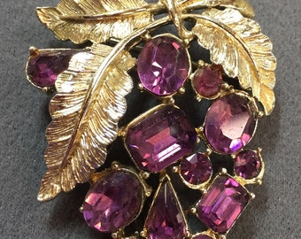 Nice Vintage Purple Rhinestone Grape Cluster brooch- Signed Coro.  Free shipping
