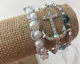 Anchor and Pearls 3-strand Beaded Bracelet