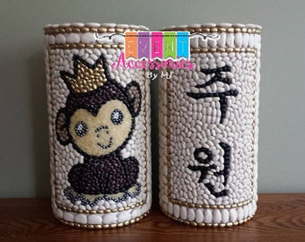 """Set of 2 - PRINCE ZODIAC Dol Tower & CUSTOM Name or Chook Dol Tower w/color(Dohl Tower)(Go-Im)Cute -Korean 1st Birthday """"Year of the Monkey"""""""