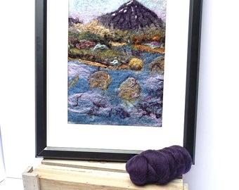 """Framed Felt Painting, """"Buachaille Etive Mor"""", Scottish Landscape, Handmade Wet Felted Art Picture 30 x 40 cm"""