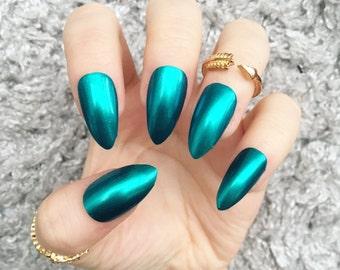 NAILED IT! Hand Painted False Nails - Chrome Holographic Blue Aquamarine