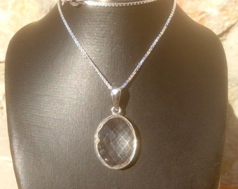 Crystal Quartz Oval Stone Silver Necklace, Classic Gemstone Necklace, Gift for Her, Crystal Quartz Pendant Necklace
