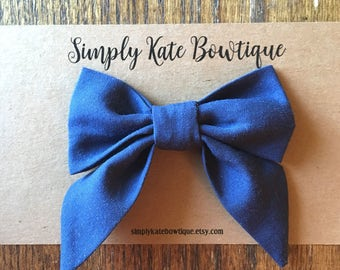 Large Sailor Bow // Navy Bow, Navy Sailor Bow, Navy Baby Bow, Navy Baby Girl Bow, Navy Toddler Bow, Patriotic Bow
