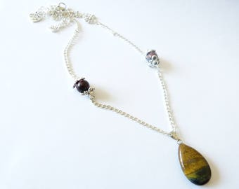 "Wife jewel necklace Silver ""The jewels of Belus"" magic eye of Tiger stone natural stone semi"