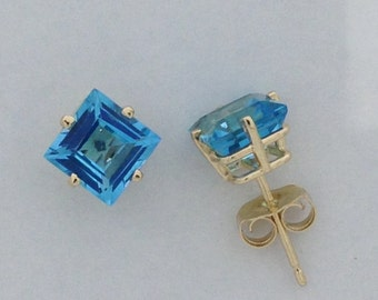 Natural Blue Topaz Stud Earrings Solid 14kt Yellow Gold