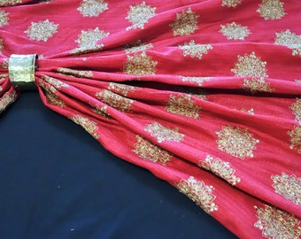 Red art raw silk fabric with fine antique golden embelishments Ac