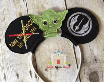 Yoda with Order of Jedi emblem and Light Sabers Mouse Ears.  Inspired by Star Wars and Disney.