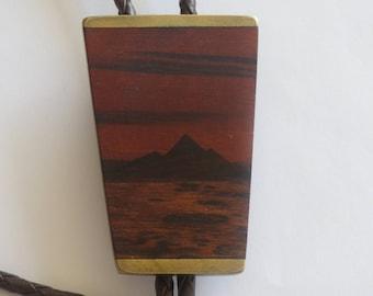Handcrafted Ken Reid 2  Wood Shield on Brass  Signed   Bolo Tie IC Lot  B