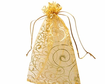 10 -  Champagne Organza Gift Bags With Drawstring 11 x 10cm