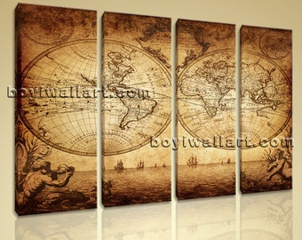 Large Vintage Map Other Retro On Canvas Print Wall Art Living Room Four Pieces, Large map Wall Art, Living Room, Straw