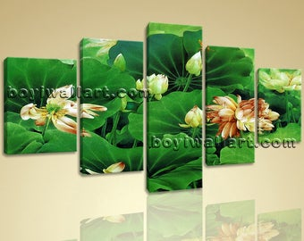 Large Water Lily Pond Hd Print Abstract Art Painting Dining Room 5 Pieces, Large Water Lily Wall Art, Dining Room, San Felix
