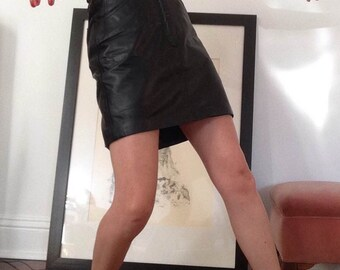 SALE****Black leather mini skirt