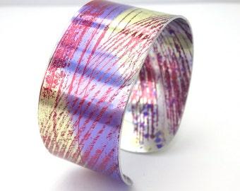 Purple and yellow , hand-painted patterned aluminium bangle