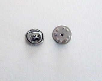 Stainless Steel Round Squeeze Clutch Backs for Pins, Brooches, Lapel Pins, Ties,  10 in a Pack, CLJewelrySupply