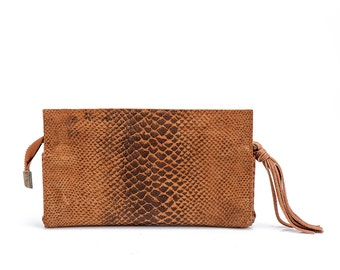 Brown leather wallet, leather clutch, Christmas gift for her, Women Leather Purse, Leather pouch, Sale