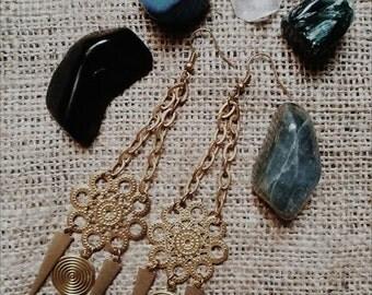 GYPSY // Solid Raw Brass Large Statement Gypsy Mandala Earrings