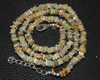 """Ultimate 25% Discount  48.80 ct approx Natural Ethiopian Opal 4 mm Heishi Beads 18.5"""" strands Necklace"""