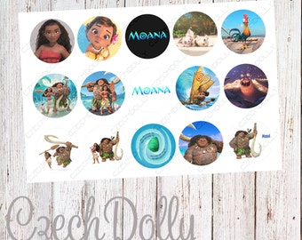 Moana Bottle Cap Images 4x6 JPEG 1 inch Printable Bottle Cap Images {300dpi} INSTANT DOWNLOAD