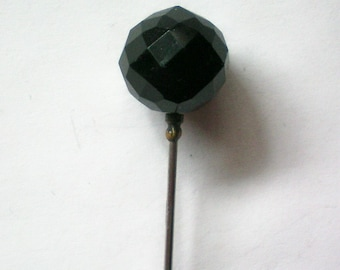 Jet Black Faceted Glass Bead Stick or Hat Pin - 5019