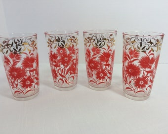Retro Hazel Atlas Red and Metallic Gold Tumblers Mid Century Vintage 1950s Set of 4