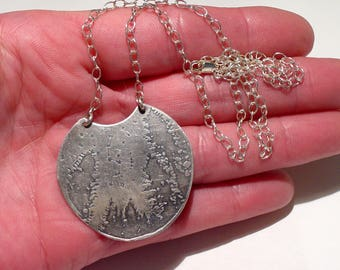 SUNDANCE CATALOG Chased Sterling Silver Constellation Plaque Necklace