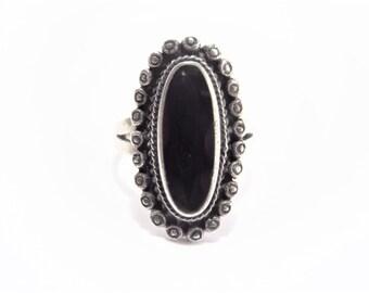 Vintage Sterling Black Onyx Ring Size 7
