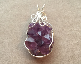 Amethyst Crystal Cluster Sterling Silver Wire Wrapped Pendant