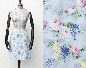 Vintage Light Blue Denim Skirt • Floral Skirt • High Waisted Skirt • Summer Skirt • 90s Skirt • Hipster Skirt • Cotton Skirt • Pencil Skirt