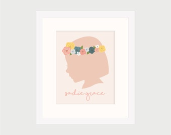 Custom Silhouette Portrait, Girl Floral Child Outline, Pink Spring Flowers, 8x10 wall art, DIY Printable