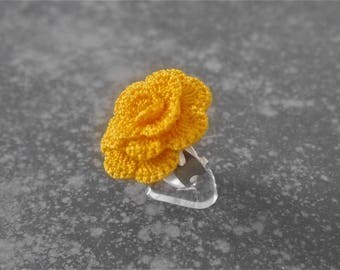 YELLOW orange crochet ring