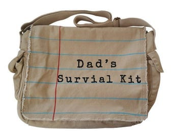 "Messenger Diaper Bag for Dad ""Dad's Survival Kit"" on Notebook Paper Graphic© Teacher gift, author gift, writer gift, bookish gift, geek gift"