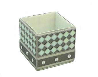Mosaic Planter - White Planting Pot - Cube Vase - Herb Planter - Contemporary Planting Pot - Industrial Glam - Square Planting Pot
