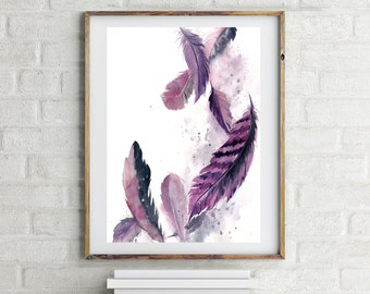 Painting of feathers, ORIGINAL Watercolor Painting, purple grey feathers,  watercolour art, feathers illustration