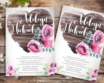 Country wedding invitation printable - watercolor wedding invitation, floral wedding invitation