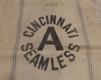 Canvas Sack, Cincinnati Seamless, Vintage Feed Bag, Vintage Old Country Textile