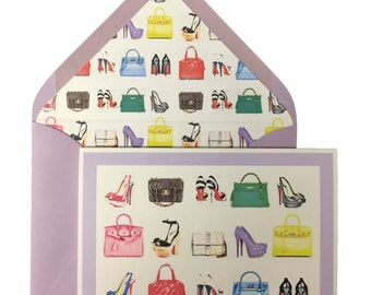 Bags & Shoes Birthday Card, Greeting Cards, Birkin, Kelly, Hermes, Chanel, High Heels, Lined Envelope, Handbags, Fashionistas, Original Art