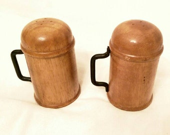 Vintage Salt and Pepper Shakers - Salt and Pepper Shakers - Wood Salt and Pepper Shakers - Mid Century - Set of 2 - Kitchen Decor - Dining