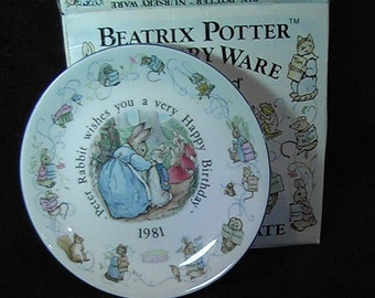 Vintage 1981 Beatrix Potter Peter Rabbit Plate, Nursery Ware by Wedgwood, Birthday Plate, Beatrix Potter Collectibles, Made in England