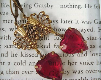 Red Rhinestone Heart Earrings Victorian Inspired